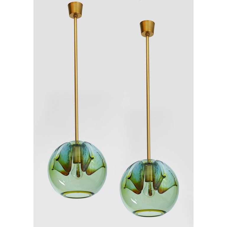 Late 20th Century Set of Two Blown Colored Glass Pendant Lanterns, Italy, 1970s For Sale