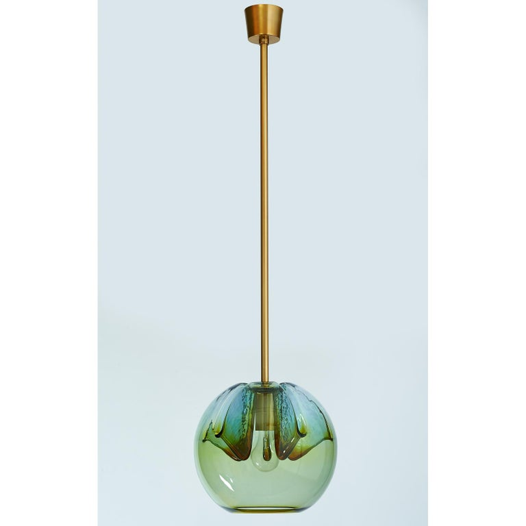 Set of Two Blown Colored Glass Pendant Lanterns, Italy, 1970s For Sale 1