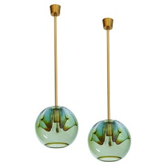 Set of Two Blown Colored Glass Pendant Lanterns, Italy, 1970s