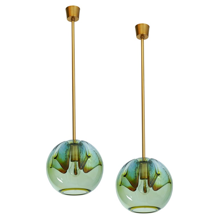 Set of Two Blown Colored Glass Pendant Lanterns, Italy, 1970s For Sale