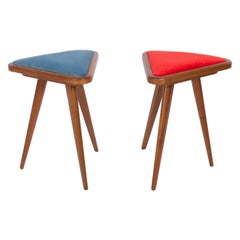 Set of Two Blue and Red Velvet 20th Century Stools, 1960s