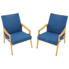 Set of Two Blue Armchairs, 1960s