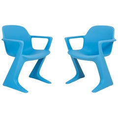 Set of Two Blue Kangaroo Chairs Designed by Ernst Moeckl, Germany, 1968