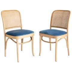 Set of Two Blue Velvet Thonet Wood Rattan Chairs, 1960s