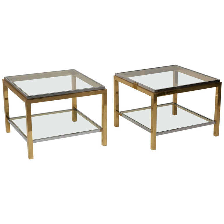 Set Of Two Br And Chrome Side Or Coffee Tables By Maison Charles For