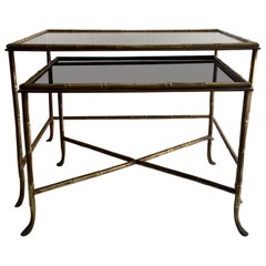 Set of Two Brass and Faux Bamboo Maison Bagues Nesting Table