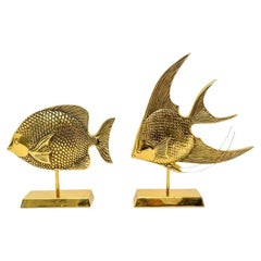 Set of Two Brass Fish Sculptures by Sarried