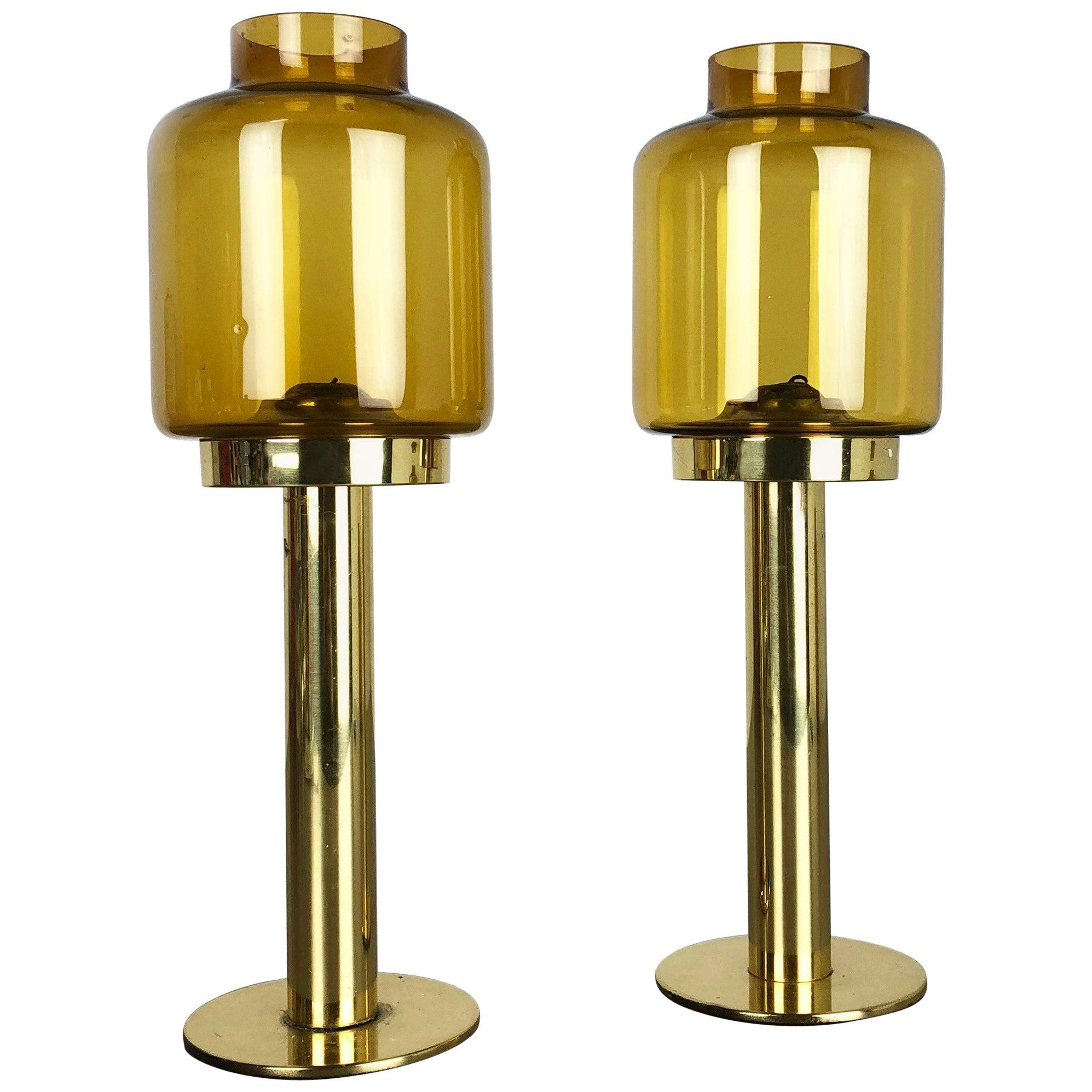 """Set of Two Brass Glass """"Claudia"""" Candleholder Made by Hans-Agne Jakobsson, 1960s"""