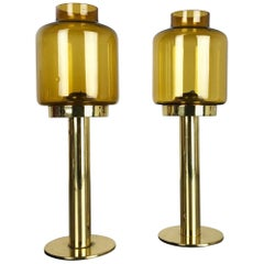 "Set of Two Brass Glass ""Claudia"" Candleholder Made by Hans-Agne Jakobsson, 1960s"
