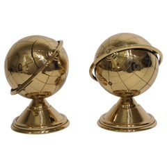 Set of Two Brass Globe Ash Tray & Cigarette Holders