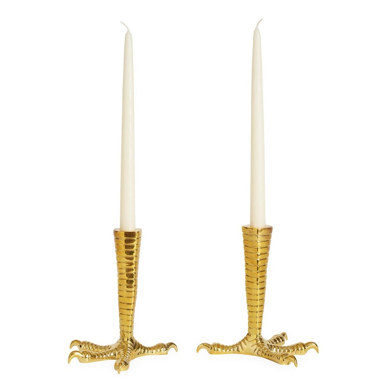 Set of Two Brass Talon Candleholders For Sale