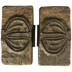 Set of Two Bronze Door Handles with Fish Design, European, 1970s