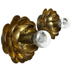 "Set of Two Brutalist Brass Metal ""artichoke"" Wall Ceiling Light Sconces, Italy"