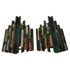 Set of Two Brutalist Italian Iron and Multicolored glass Wall Sconces circa 1970