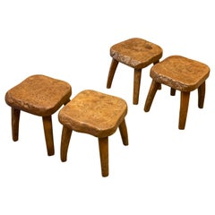 Set of Two Burled Elm Stools, France, 1950s