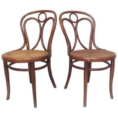 Set of Two Caned Thonet Dining Chairs, 1900s