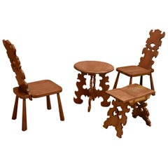Set of Two Chairs, a Round Table and a Seat Bench, Made in Wood by Don Shoemaker