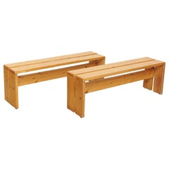 Set of Two Charlotte Perriand Large Wood Benches for Les Arcs, circa 1960