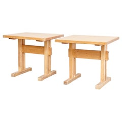 Set of Two Charlotte Perriand Wood Tables for Les Arcs, circa 1960