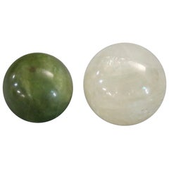 Set of Two Chinese Jade Green and White Onyx Balls, 20th Century