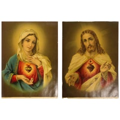 Set of Two Chromo-Lithographs Sacred Heart Jesus Immaculate Heart Mary, 1880