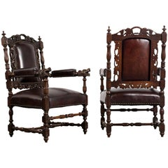 Set of Two circa 1870s Renaissance Style Armchairs
