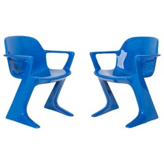 Set of Two Classic Blue Kangaroo Chairs Designed by Ernst Moeckl, Germany, 1968