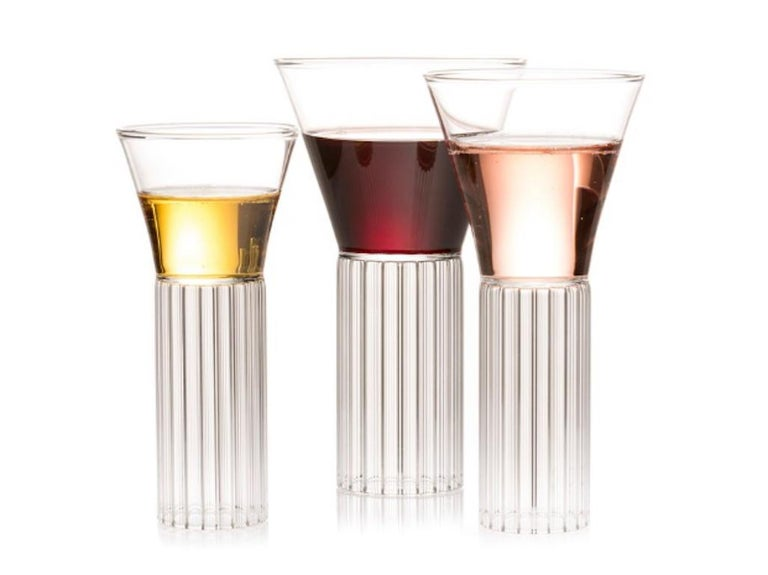 Modern Set of Two Clear Contemporary Sofia Medium Glasses by Felicia Ferrone For Sale