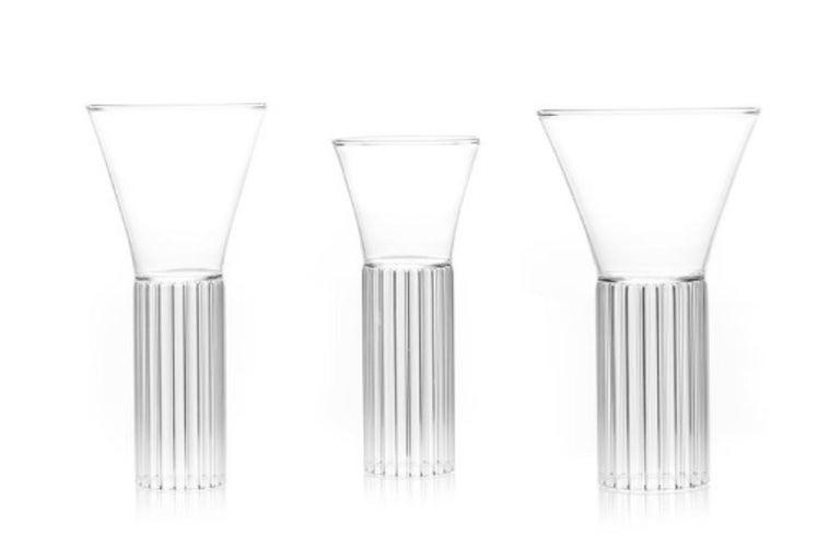 American Set of Two Clear Contemporary Sofia Medium Glasses by Felicia Ferrone For Sale