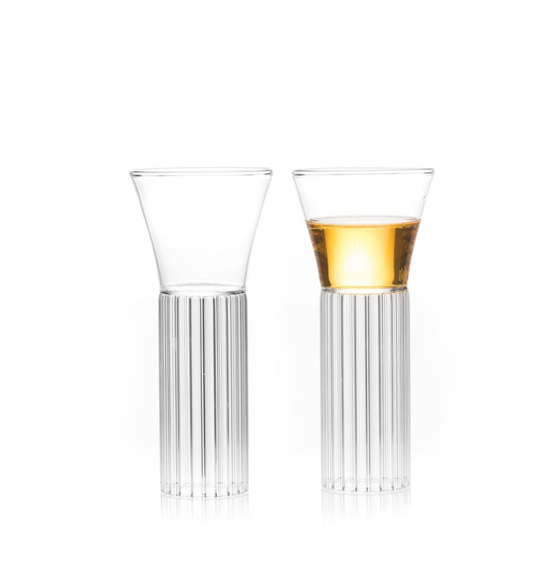 With the elegance of a forgotten time, the contemporary Sofia collection glasses are a series of barware ideal for beverages from wine and water to martinis and other libations. Strikingly simple in form, the modern yet with a hint of Retro style,