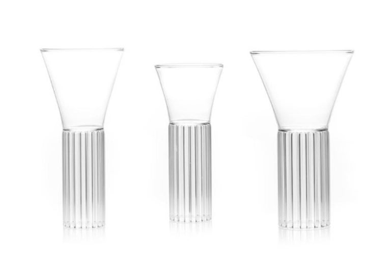 American Set of Two Clear Contemporary Sofia Small Glasses by Felicia Ferrone For Sale