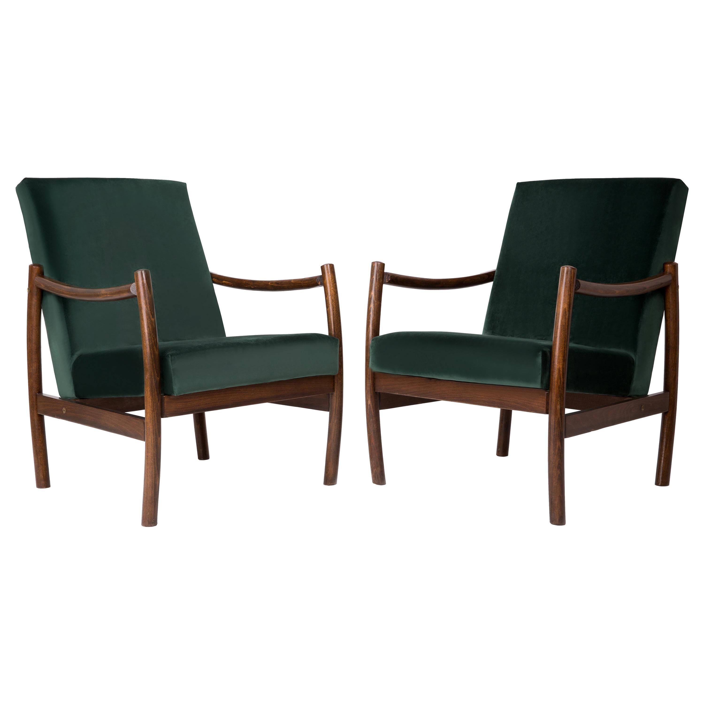 Set of Two Club Armchairs, Dark Green Velvet, 1960s