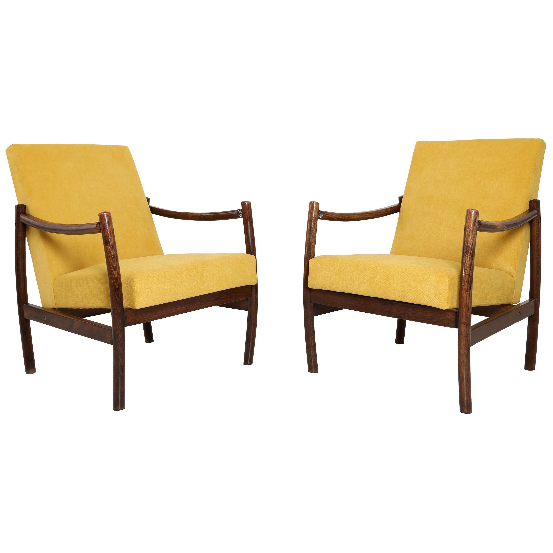 Set of Two Club Armchairs, Yellow Velvet, 1960s