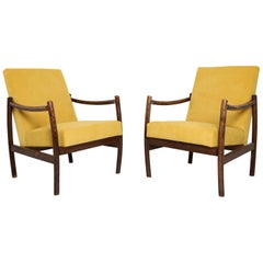 Set of Two Club Armchairs, Yellow Velvet, 1960s