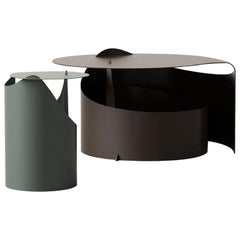 Set of Two Coffee Tables, Rolle Steel designed by Aldo Bakker