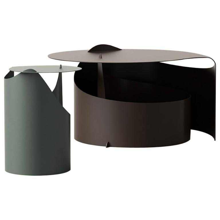 Set of Two Coffee Tables, Rolle Steel designed by Aldo Bakker For Sale