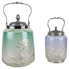 Set of Two Colored Glass Jars/ Bonbonniere with Lid, Austria, circa 1920