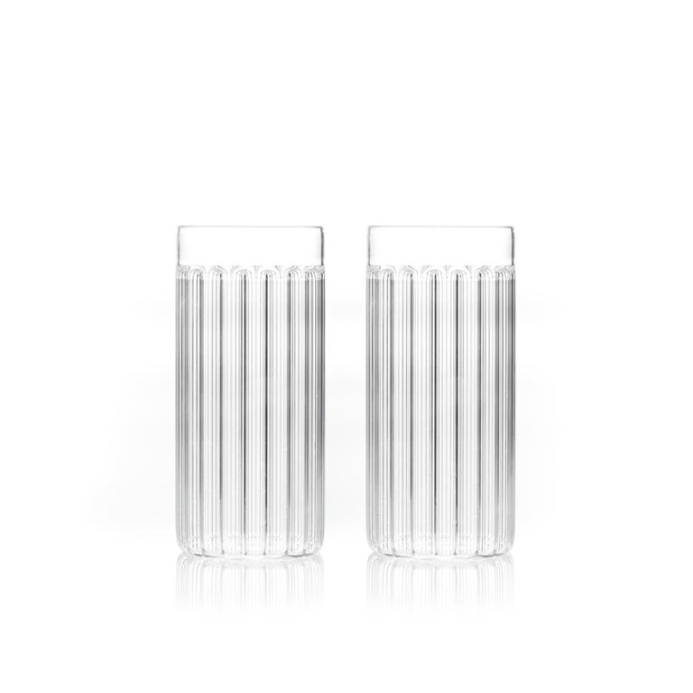 Modern Set of Two Contemporary Bessho Tall Glasses Handmade by Felicia Ferrone For Sale