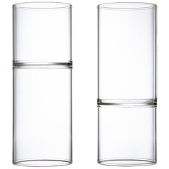 Set of Two Contemporary Minimal Clear Water and Wine Glasses Handmade Czech