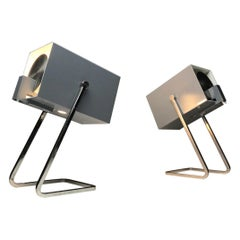 Set of Two Cube Table Lamps by Kaiser Leuchten, Germany, 1960s