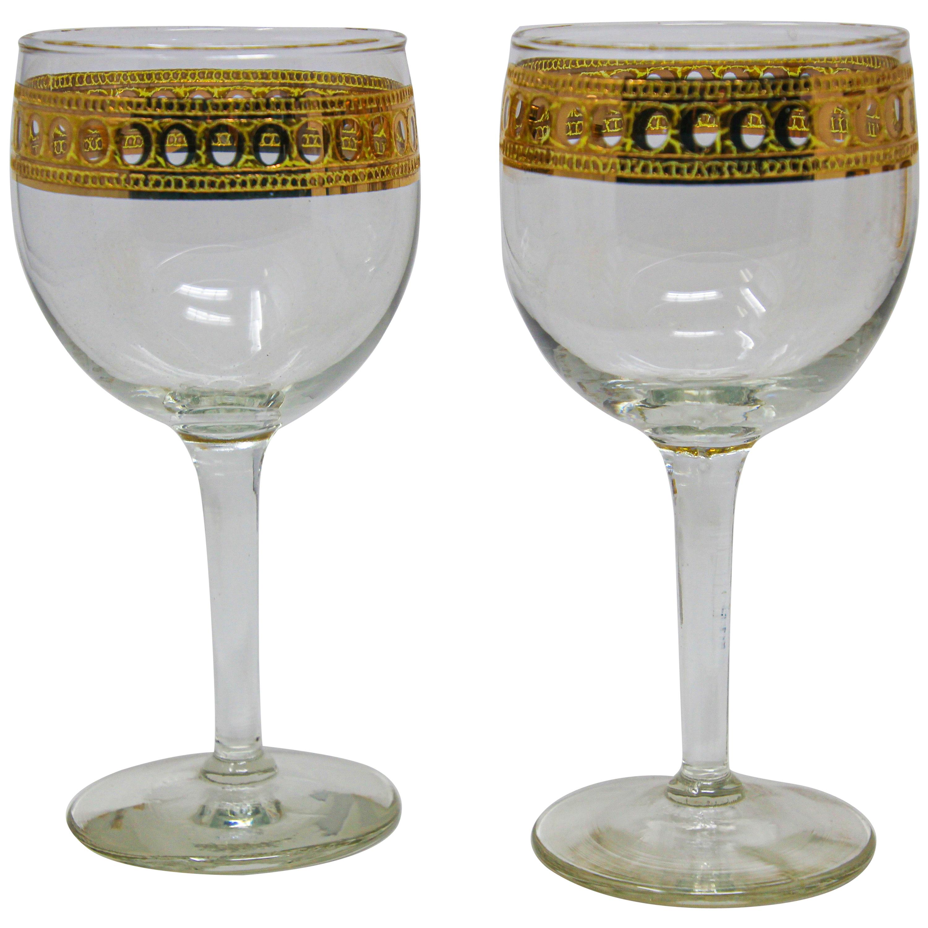 Set of Two Vintage Culver Wine Glasses with 22-Karat Gold Antigua Pattern