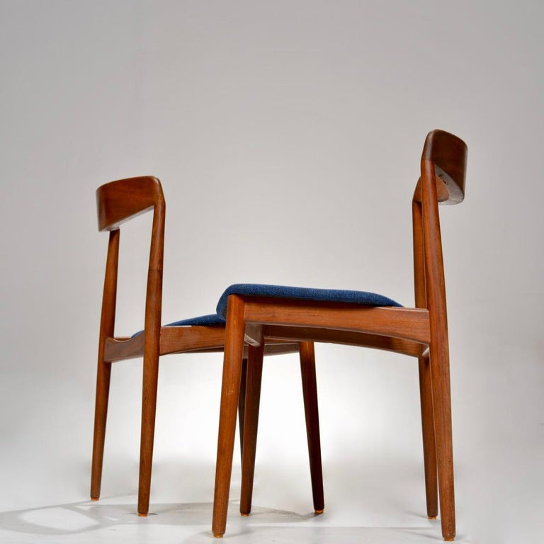 Mid-20th Century Set of Two Curved Back Danish Teak Dining Chairs For Sale