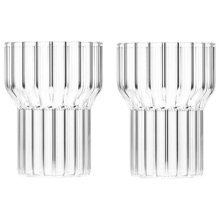 EU Clients Set of Two Czech Contemporary Fluted Boyd Medium Glasses, in Stock