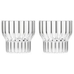 EU Clients Set of Two Czech Contemporary Fluted Boyd Small Low Glasses, in Stock