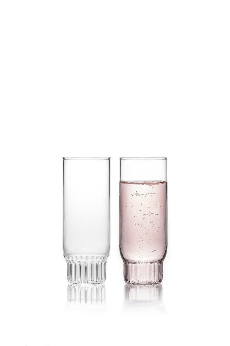 Rasori champagne flute glasses, set of two   This item is also available in the US.  As the designer's favorite street in Milan, her home away from home, the clear Czech contemporary Rasori Champagne Flute glasses are a playful and delicate
