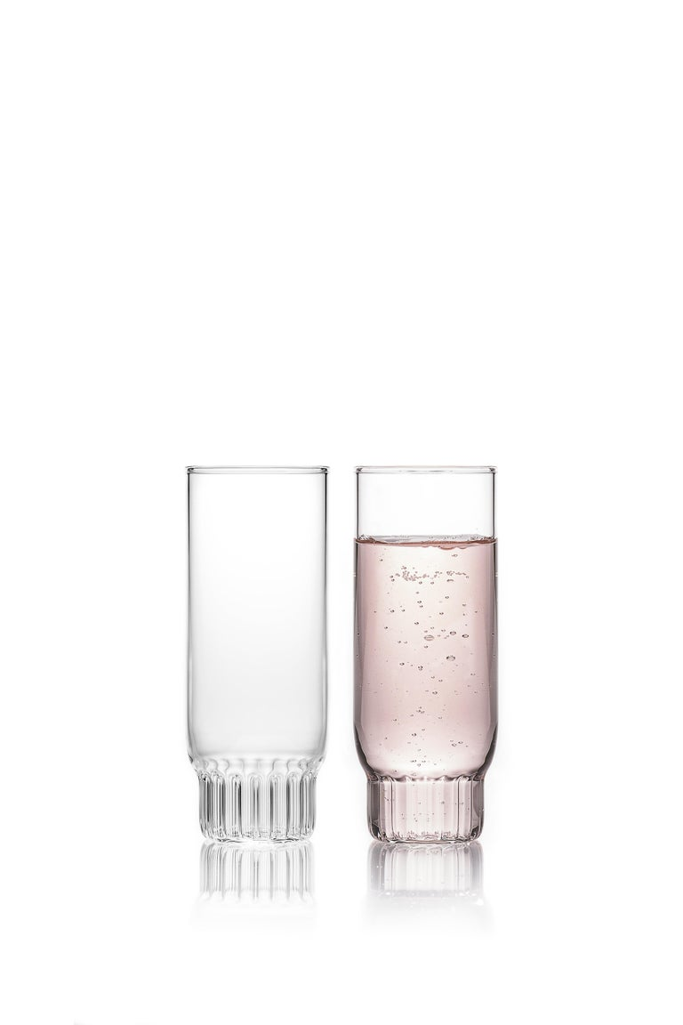 Rasori champagne flute glasses, set of two  As the designer's favorite street in Milan, her home away from home, the clear Czech contemporary Rasori Champagne Flute glasses are a playful and delicate combination of materials and form, just like