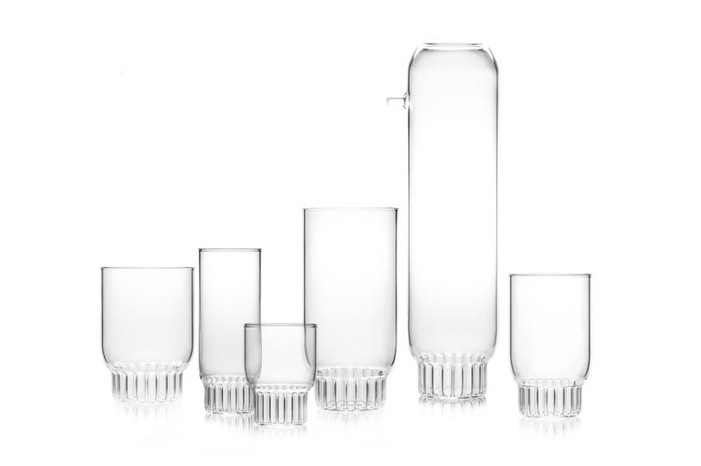 Hand-Crafted Set of Two Czech Clear Contemporary Rasori Champagne Flute Glasses, in Stock For Sale