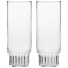Set of Two Czech Clear Contemporary Rasori Champagne Flute Glasses, in Stock