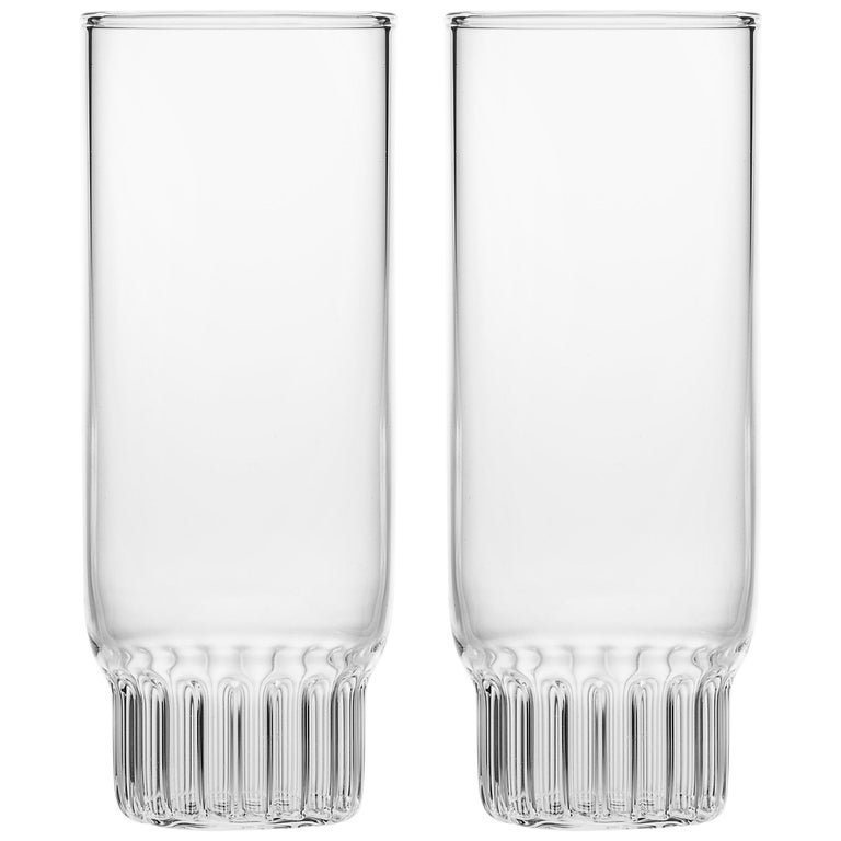Set of Two Czech Clear Contemporary Rasori Champagne Flute Glasses, in Stock For Sale