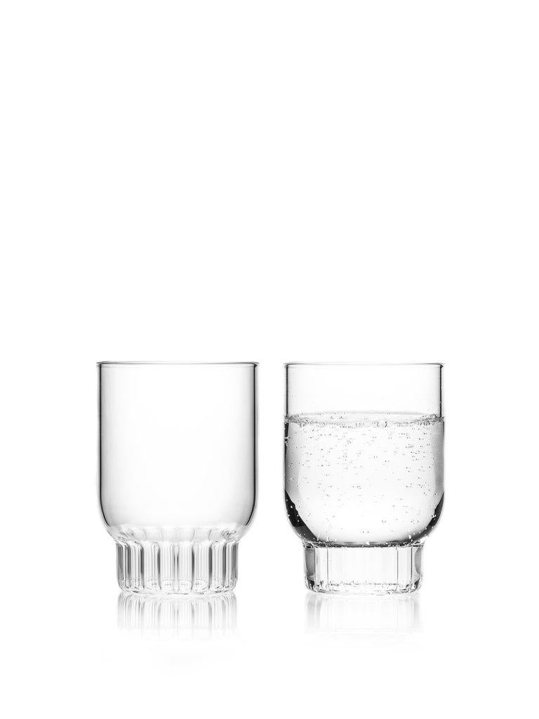 Rasori medium glasses, set of two  This item is also available in the US.  As the designer's favourite street in Milan, her home away from home, the clear Czech contemporary Rasori Medium glasses are a playful and delicate combination of materials
